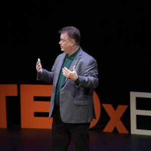 Lewis D Chaney of GET TO THE DAMN POINT speaks at TEDx Evansville